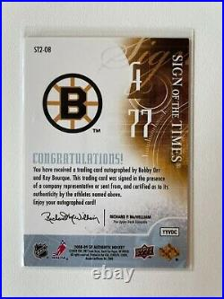 2008-09 SP Authentic Sign of the Times Bobby Orr/ Ray Bourque Dual Auto SP