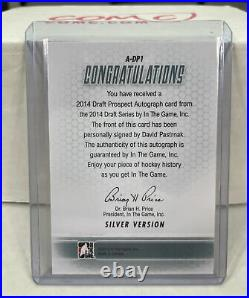 2014 In The Game ITG David Pastrnak Draft Prospect Auto Silver Bruins
