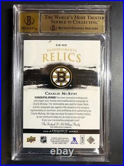 2017-18 The Cup Endorsement Relics Charlie McAvoy Rookie Patch Auto /50 BGS 9.5