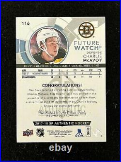 2017-18 UD SP Authentic FUTURE WARCH AUTO CHARLIE MCAVOY /999