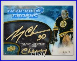 2019-20 ICE 2018-19 Update Glacial Graphs Black Auto Gerry Cheevers Cheesey /25