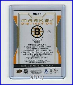 2019-20 SP Authentic BOBBY ORR /25 Marks of Distinction Autograph Update 2018-19