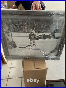 BOBBY ORR THE GOAL AUTOGRAPHED FRAMED PHOTO BOSTON BRUINS 70 STANLEY CUP 19x23