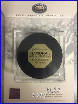 Bobby Orr Autographed 50th Anniversary Rookie Year Hockey Puck withCube & GNR COA