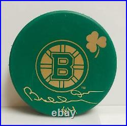 Bobby Orr Boston Bruins Signed Autographed Green St. Patricks Day Hockey Puck