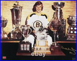 Bobby Orr Boston Bruins Signed Autographed with Trophies and Stanley Cup 16x20