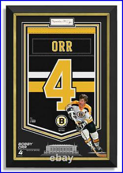 Bobby Orr Signed Boston Bruins Jersey Arena Banner Archival Etched Glass /144