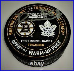 David Pastrnak Boston Bruins Signed'19 SC Round 1 Official GAME 7 WarmUp Puck