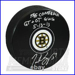 Patrice Bergeron Boston Bruins Limited Edition COMEBACK Signed Inscribed Puck