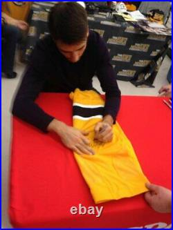 Patrice Bergeron Boston Bruins Signed Autographed Yellow Game Worn Sock