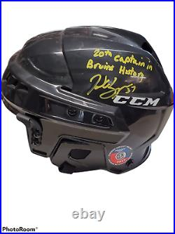 Patrice Bergeron Boston Bruins Signed Inscribed 20th Captain. Full Size Helmet