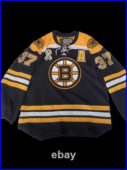 Patrice Bergeron Boston Bruins signed MULTI INSCRIBED Boston Strong patch jersey