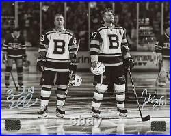 Patrice Bergeron Brad Marchand Boston Bruins Signed Autographed B/W 8x10
