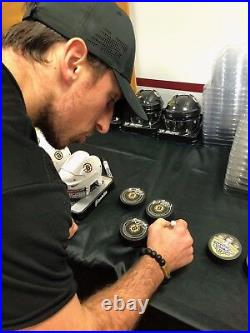 Patrice Bergeron Brad Marchand Boston Bruins Signed Autographed Large Logo Puck
